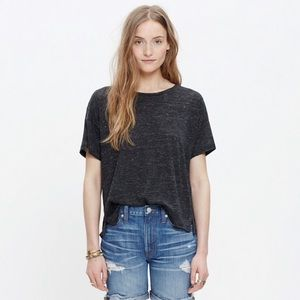 Madewell linen charcoal gray cropped top